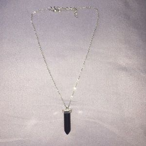 Necklace with black rock